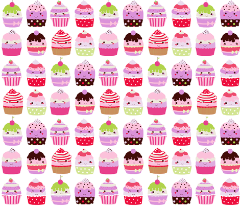 kawaii cupcakes fabric by katarina on Spoonflower - custom fabric
