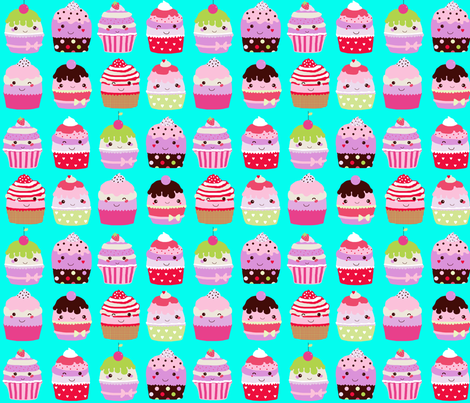 Kawaii cupcakes aqua fabric by katarina on Spoonflower - custom fabric