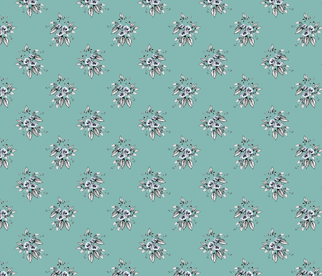 Farmhouse Roses Mary (larger print blue) fabric by joanmclemore on Spoonflower - custom fabric