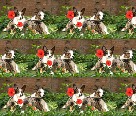 Cardigan Corgis In The Garden fabric by dogdaze_ on Spoonflower - custom fabric