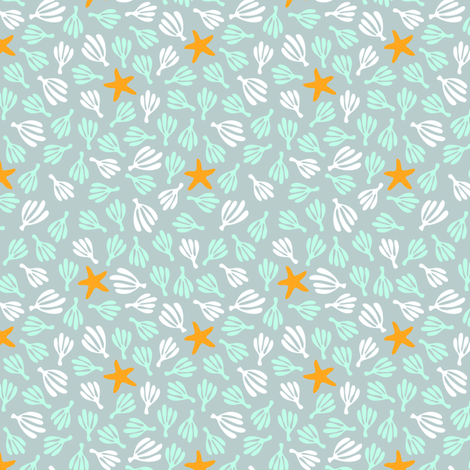 ditsea: starfish & seaweed fabric by nadiahassan on Spoonflower - custom fabric