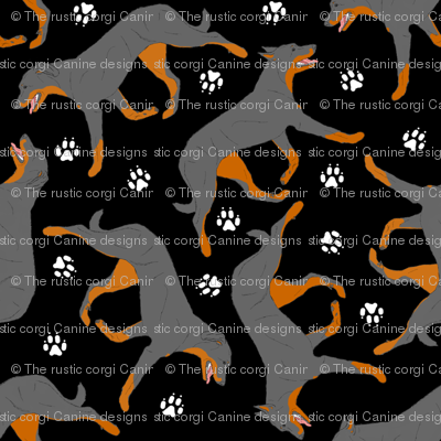 Trotting Beaucerons and paw prints - black