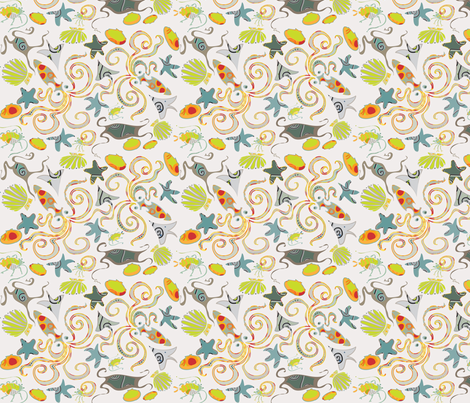 sea-creatures-ditsy fabric by wren_leyland on Spoonflower - custom fabric