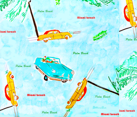 Antique Cars in Florida fabric by bettinablue_designs on Spoonflower - custom fabric