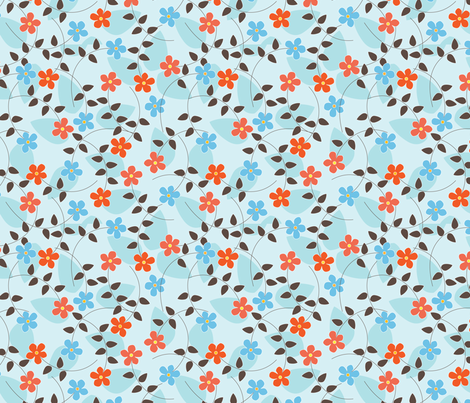 Coral Blue Blossom fabric by kayajoy on Spoonflower - custom fabric