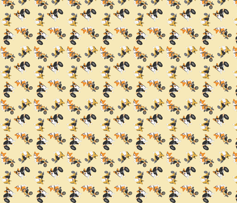 Corgi's on wheels small - tan fabric by rusticcorgi on Spoonflower - custom fabric