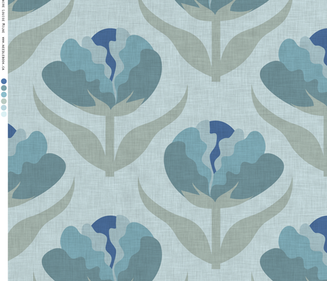 Ruffle Floral Blue fabric by needlebook on Spoonflower - custom fabric