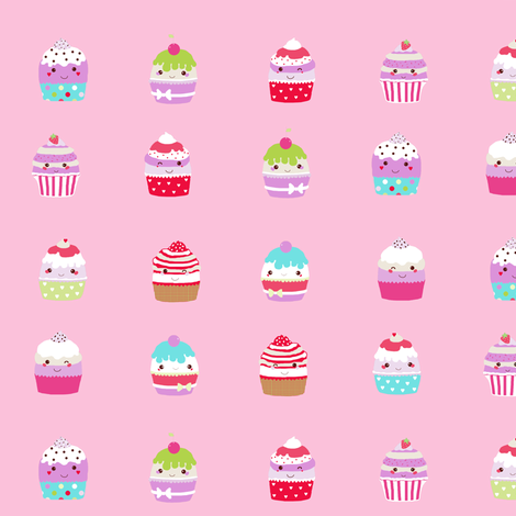 cupcakes in pink fabric by katarina on Spoonflower - custom fabric