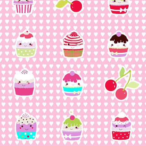 cupcakes with hearts background fabric by katarina on Spoonflower - custom fabric