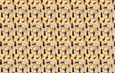 Steampunk Mosaic Time Machine -- Tiny version  ©2012 by Jane Walker fabric by artbyjanewalker on Spoonflower - custom fabric