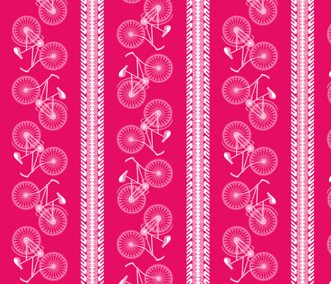 I want to ride my bicycle cherry-pinked fabric by glimmericks on Spoonflower - custom fabric