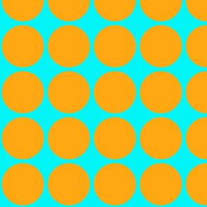 Big Dots in Aqua and Orange
