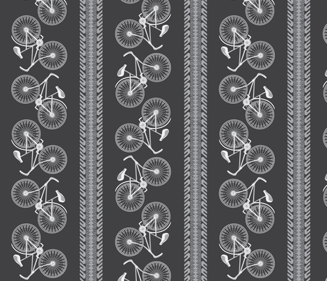 I want to ride my bicycle xgray fabric by glimmericks on Spoonflower - custom fabric