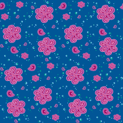 Spiral shells in the bubbly sea. fabric by elizabethjones on Spoonflower - custom fabric
