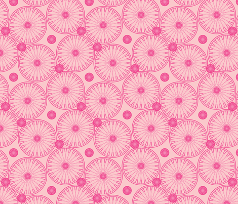 bicyclewheels_and_gears in the pink fabric by glimmericks on Spoonflower - custom fabric