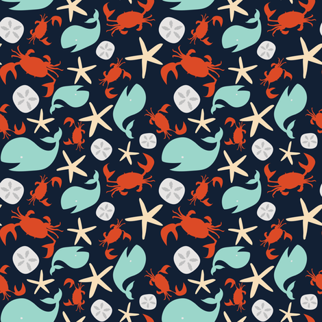 crabbyandhappy_NAVY fabric by betsybeans on Spoonflower - custom fabric