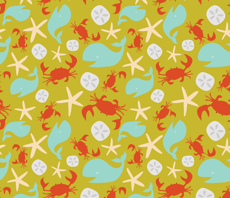crabbyandhappy_GREEN fabric by betsybeans on Spoonflower - custom fabric