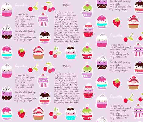 cupcake recipe fabric by katarina on Spoonflower - custom fabric