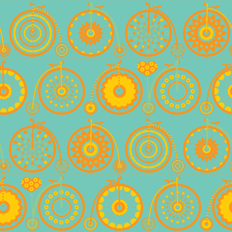 Bicycle Love - sunshine fabric by kayajoy on Spoonflower - custom fabric