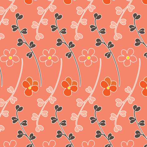 Leaflets - Coral fabric by kayajoy on Spoonflower - custom fabric