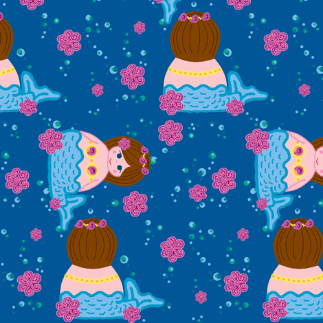 mermaids in the sea fabric by elizabethjones on Spoonflower - custom fabric