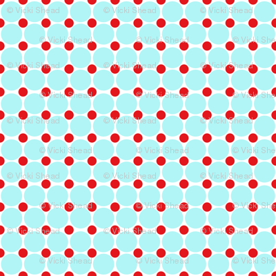 Red and Turquoise Dots On White