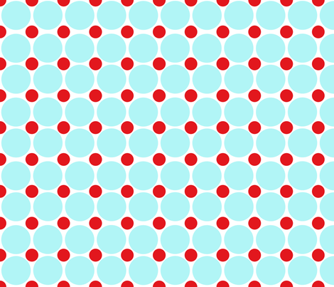 Red and Turquoise Dots On White fabric by curlywillowco on Spoonflower - custom fabric