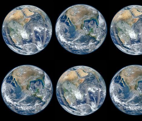 Final Frontier Collection ~Blue Marble ~ Hemispheres fabric by peacoquettedesigns on Spoonflower - custom fabric