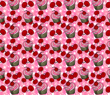 Cherry Cup Cakes fabric by mystikel on Spoonflower - custom fabric