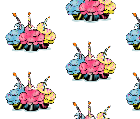 Birthday Cup Cakes  fabric by mystikel on Spoonflower - custom fabric