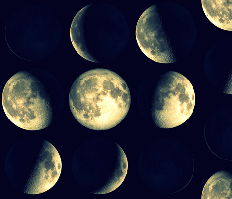 Final Frontier Collection ~ Blue/Yellow Phases of the Moon fabric by peacoquettedesigns on Spoonflower - custom fabric
