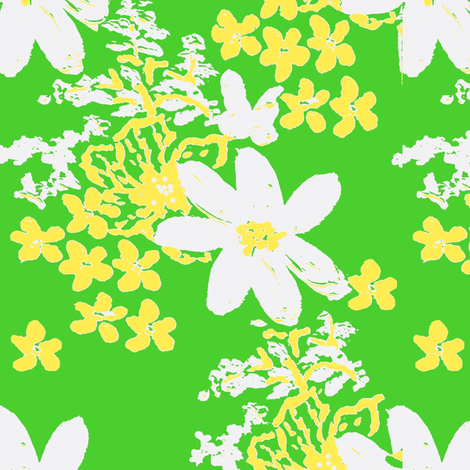 tiger lilly and daisy lime ©2012 Jill Bull fabric by fabricfarmer_by_jill_bull on Spoonflower - custom fabric