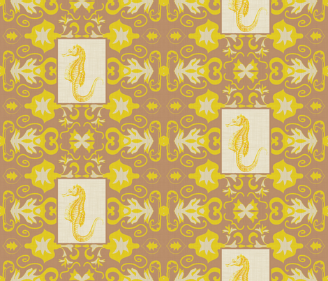 goldenseahorse fabric by fabricfarmer_by_jill_bull on Spoonflower - custom fabric