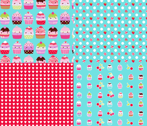 cupcake coordinates in aqua-red fabric by katarina on Spoonflower - custom fabric
