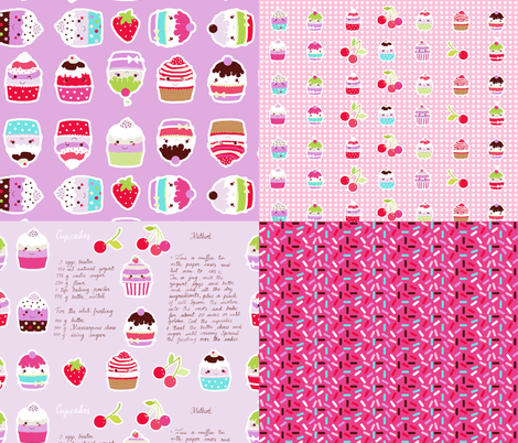 cupcake coordinates in pink fabric by katarina on Spoonflower - custom fabric