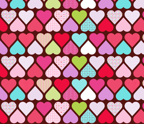 valentine cupcake brown fabric by katarina on Spoonflower - custom fabric