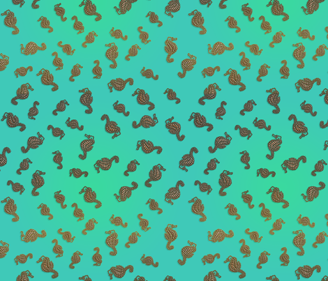 Copper Seahorses in Aqua Seas fabric by nezumiworld on Spoonflower - custom fabric