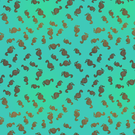 Little Copper Seahorses in Aqua Seas fabric by nezumiworld on Spoonflower - custom fabric