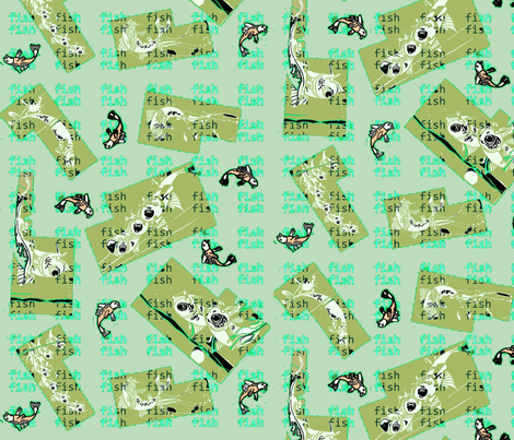 Happy Greeny Fish fabric by susanpolston on Spoonflower - custom fabric