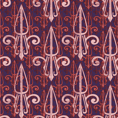 fleurdelis-pjr_triple_pink fabric by glimmericks on Spoonflower - custom fabric