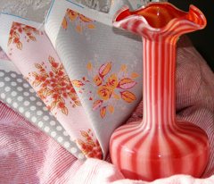 Farmhouse Roses pink orange gray
