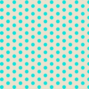 Closer Aqua Dots on Cream
