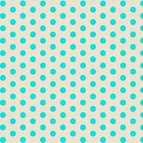 Closer Aqua Dots on Cream