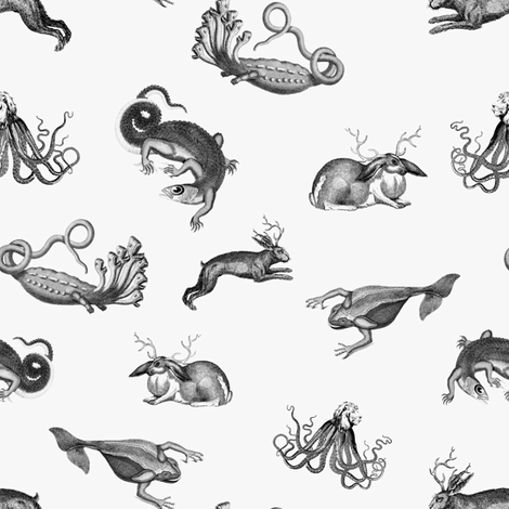 vintage ephemera zoo grayscale fabric by ravynka on Spoonflower - custom fabric