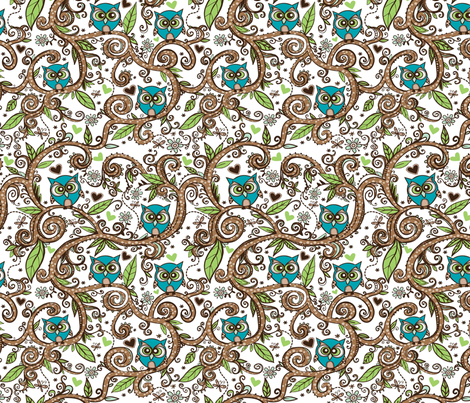 Owly fabric by tessiegirldesigns on Spoonflower - custom fabric