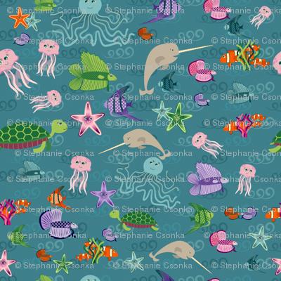 Underwater Menagerie Ditsy