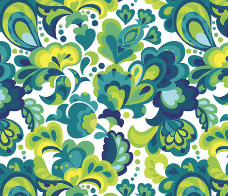 Lush Garden Paisley fabric by chulabird on Spoonflower - custom fabric