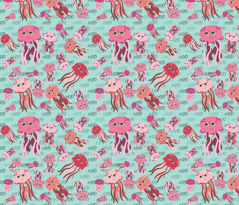 Underwater Menagerie Jellyfish fabric by jubilli on Spoonflower - custom fabric