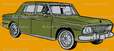 olive 1964 1965 Studebaker Lark on orange background