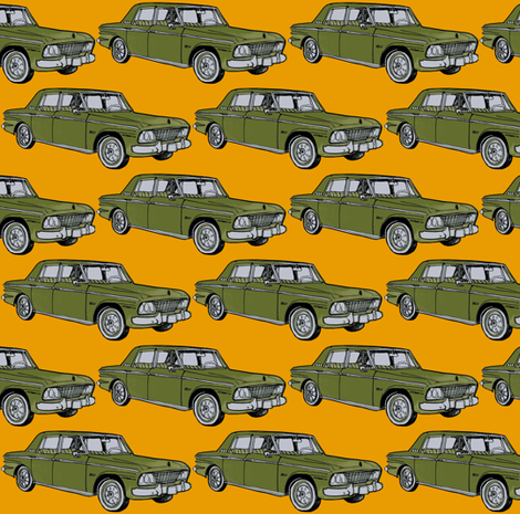 olive 1964 1965 Studebaker Lark on orange background fabric by edsel2084 on Spoonflower - custom fabric